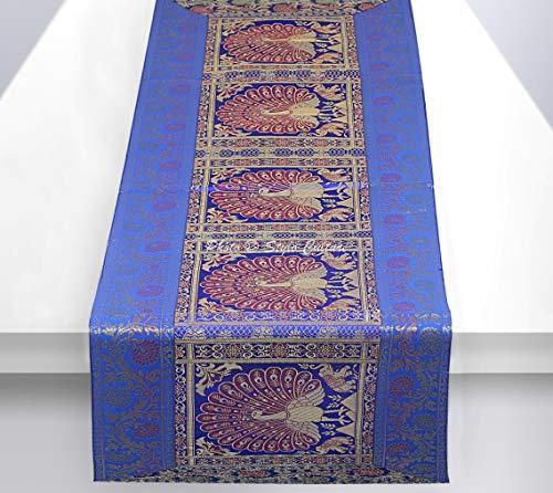Stylo Culture Ethnische Dekorative Tischdecke Blau Gold Tanzen Pfau mit Blumen Bohemien Jacquard Tischläufer Rechteckig 5 Fuß Für Mitteltabelle Brokat Party Tischplatte (40 x 152 cm)