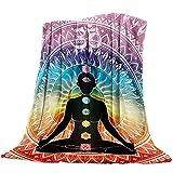 DCGARING Microfiber Throw Blanket Warm Fuzzy Plush Fleece Blanket Twin Size Mandala Design Meditation Hippie Style Lightweight Warm Luxury Blanket Super Soft for Bed/Couch/Sofa 40'x50'
