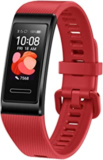 HUAWEI Band 4 Pro Smart Band Fitness Tracker with 0.95 Inch AMOLED Touchscreen, 24/7 Heart Rate Monitor, Indoor Outdoor Pro Tracking, Sleep Monitor, Built-in GPS, 5ATM Waterproof, Cinnabar Red