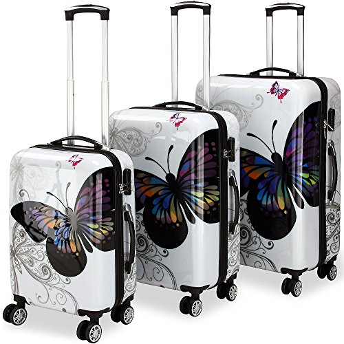 Deuba Hardshell Suitcase Set Butterfly Cabin Bag Travel Spinner Luggage 3 Pieces