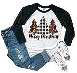 Women's Merry Christmas Shirt Cute Buffalo Plaid Letter Print Graphic Tees Short Sleeve Party Tops Blouse (Light Grey-Dark Green, XL)