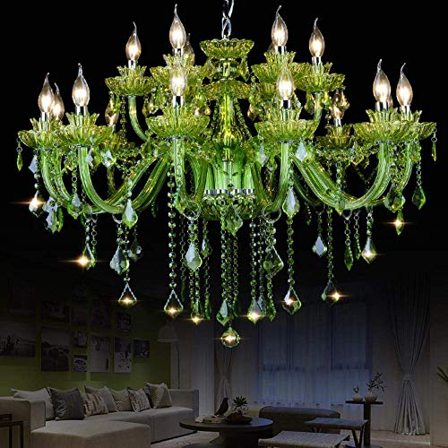 European Crystal Clear Colored Glass Candle Lamp Creative Restaurant Internet Cafe Diffuse Green Coffee Chandeliers Wholesale Clothing 6 Diameter 600mm Green (Light Transmission)