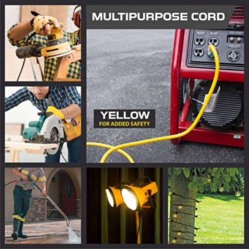Outdoor Extension Cord - 12/3 SJTW Heavy Duty Yellow 3 Prong Extension Cable - Great for Garden and Major Appliances (50 Foot - Yellow)
