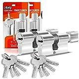 GERCAR - Set di 2 cilindri profilati per serratura a cilindro 30/30, con 10 chiavi, con chiusura simultanea
