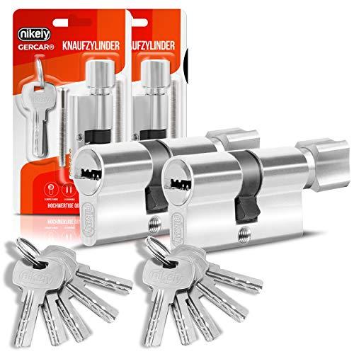 GERCAR Profilzylinder Schließzylinder Zylinderschloss 40/40 Knaufzylinder Türschloss - inkl. 10 Schlüssel - Gleichschließend 2er Set - Länge: 80mm , A:40 B:40 - 2er Set