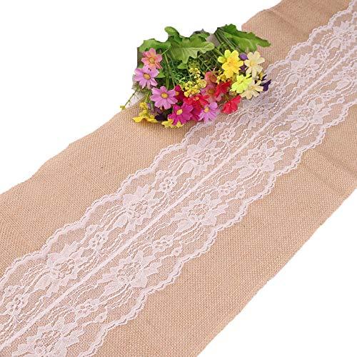 Greenpromise Camino de mesa vintage de yute de encaje original de estilo ecológico blanco natural para decoración de fiesta de boda (30 cm x 305 cm)