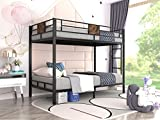 Allewie Metal Twin Size Bunk Beds Frame with Stairs & Full-Length Guardrail,Space-Saving,No Box Spring Needed,Noise Free,Black