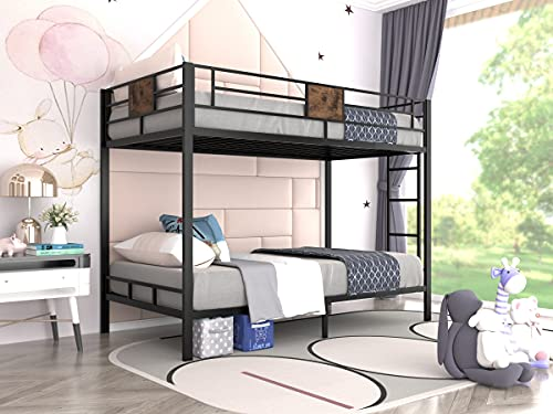 Allewie Metal Twin Size Bunk Beds Frame with Stairs & Full-Length Guardrail,Space-Saving,No Box...