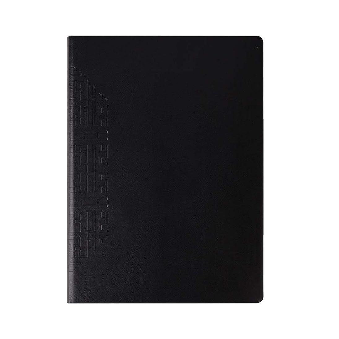 その後ティッシュ役職オフィスノート ノートブックA 4ブラックメモ帳厚い特大ビジネス事務記録帳ソフトレザー352ページ (Color : Black, サイズ : 29*21.5cm)