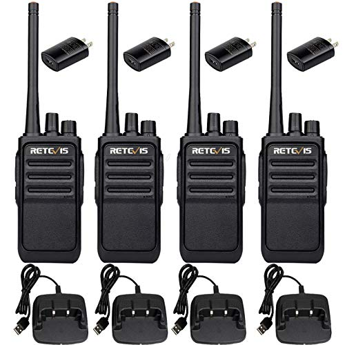 Retevis RT17 Rechargeable Walkie Talkies for Adults,2 Way Radios Long Range,Professional Two Way Radio,Hands Free 1200mAh USB Charger Base Adapter,Family Commercial(4 Pack)