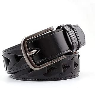 SGJFZD Hand-Wearing Triangles Microfiber Ladies Wide Belt Fashionable Punching Belt Women's Fashion Jeans Belt (Color : Black, Size : 110 * 3.9cm)