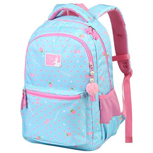 Vbiger Rucksack Mädchen Rucksack Kinder Schulrucksack Kinderrucksack Schultasche für mädchen 3-6 Klasse Himmelblau L