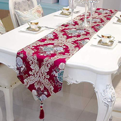 Camino de mesa rojo, moderno minimalista de lujo, bandera de jacquard, bandera europea, tira larga, resistente al calor, mantel individual para decoración de la boda del hogar a 30 cm x 160 cm