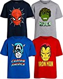 Marvel Boys' Avengers 4 Pack Graphic T-Shirts: Iron Man, Captain America, Spider-Man, Hulk (Toddler/Little/Big Boys), Red/Blue/Black/Heather Grey, Size 4T