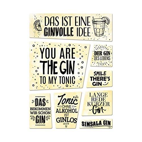 trendaffe - Alkohol Kühlschrankmagnete 8er Set mit Sprüchen über Gin Tonic Party Cocktail