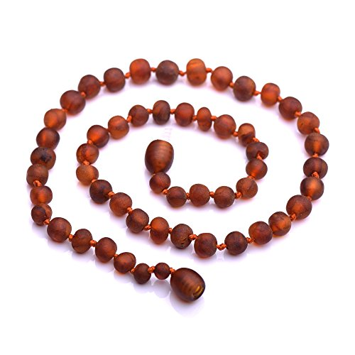 Genuine Baltic Amber Necklace - Raw not Polished Beads - Cognac Color - Knotted Between Beads (32cm)