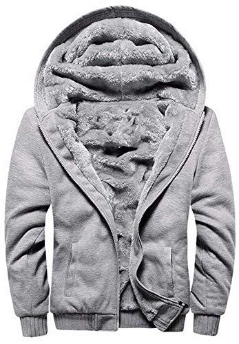 Felpa con Cappuccio Zip Sweatshirt Spesso Felpe con Cappuccio Manica Lunga Zip Felpe Vello Foderato Giacca con Cappuccio Inverno Caldo(Grigio,3XL)
