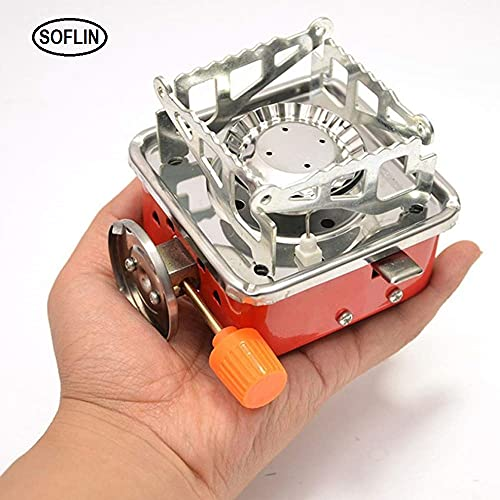 SOFLIN Outdoor Portable Square-Shaped Gas Butane Burner Camping Picnic Folding Stove with Storage Bag