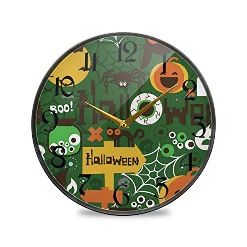 ART VVIES Reloj de Pared Redondo de 12 Pulgadas sin tictac silencioso operado por batería Oficina Cocina Dormitorio Decoración para el hogar-Halloween Boo