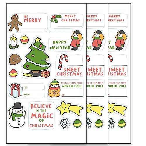 48 Etiquetas adhesivas Navidad. Pegatinas para adornar y personalizar regalos. (Christmas)
