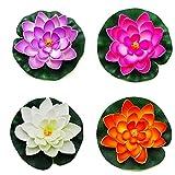 Pack de 4 Artificial Espuma Lotus 10cm Artificial Flotante Acuario Plantas Impermeable Flor de Loto Fiesta de Boda Inicio Patio al Aire Libre Piscina del Acuario Decoración