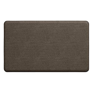 "NewLife by GelPro Anti-Fatigue Designer Comfort Kitchen Floor Mat, 18x30"", Modern Grasscloth Pecan Stain Resistant Surface with 5/8"" thick ergo-foam core for health and wellness"