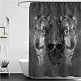Interestlee Wolf Get Naked Shower Curtain Abstract Skull Figure Canine Polyester Stall Bathroom Curtain, 108 x 72 Inch
