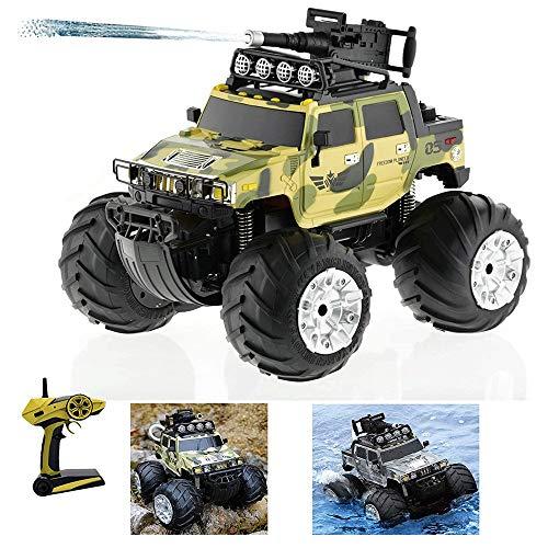 Zeyujie Camión de control remoto impermeable para niños Control remoto anfibio Coche 4x4 Fuera de carretera Tierra y agua Juguetes de agua con cañón de agua, Control remoto anfibio de gran tamaño: veh