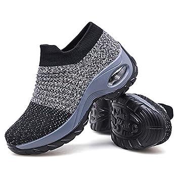 Women s Walking Shoes Sock Sneakers - Mesh Slip On Air Cushion Lady Girls Modern Jazz Dance Easy Shoes Platform Loafers Grey,5.5