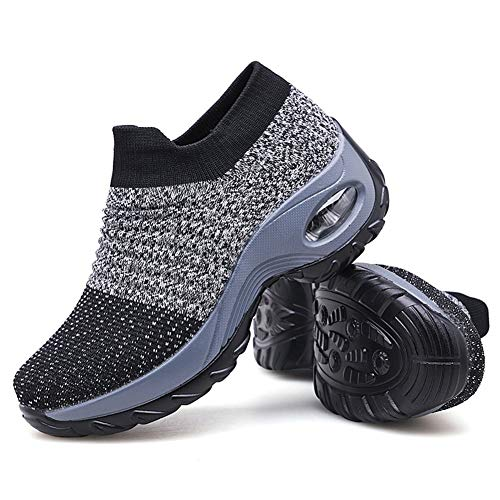 Women's Walking Shoes Sock Sneakers - Mesh Slip On Air Cushion Lady Girls Modern Jazz Dance Easy Shoes Platform Loafers Grey,8.5