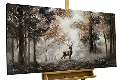 KunstLoft® Acryl Gemälde 'Stag in The Brume' 120x60cm handgemalt Leinwand Bild