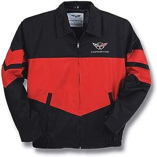 Corvette C5 Emblem Jacket Red and Black Twill Bomber (Extra Large)