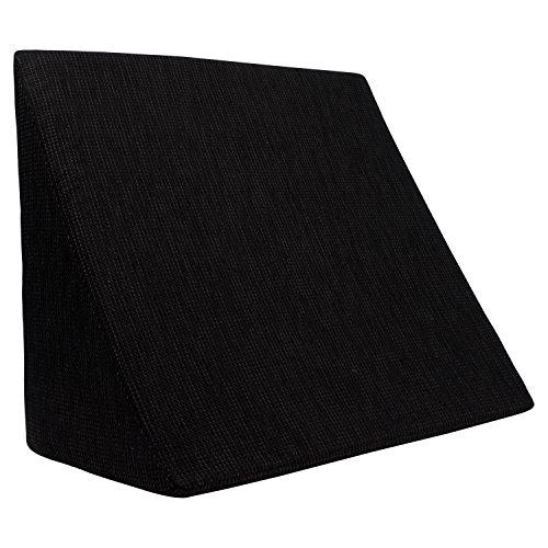 XL Almohada de cuña para sala de estar y dormitorio, cojín de lectura, almohada de relajación, respaldo flexible, cojines de embarazo, almohadas de lactancia // para tumbarse y sentarse (negro)