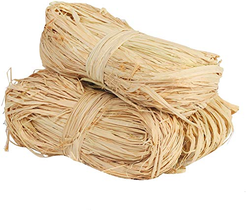 200g Natural Raffia Ribbon for Gift Wrapping Florist Bouquets Decoration Ties 4 Bundles DIY Craft Weaving Garden Use Tying Plants Vegetables Hanging Tags