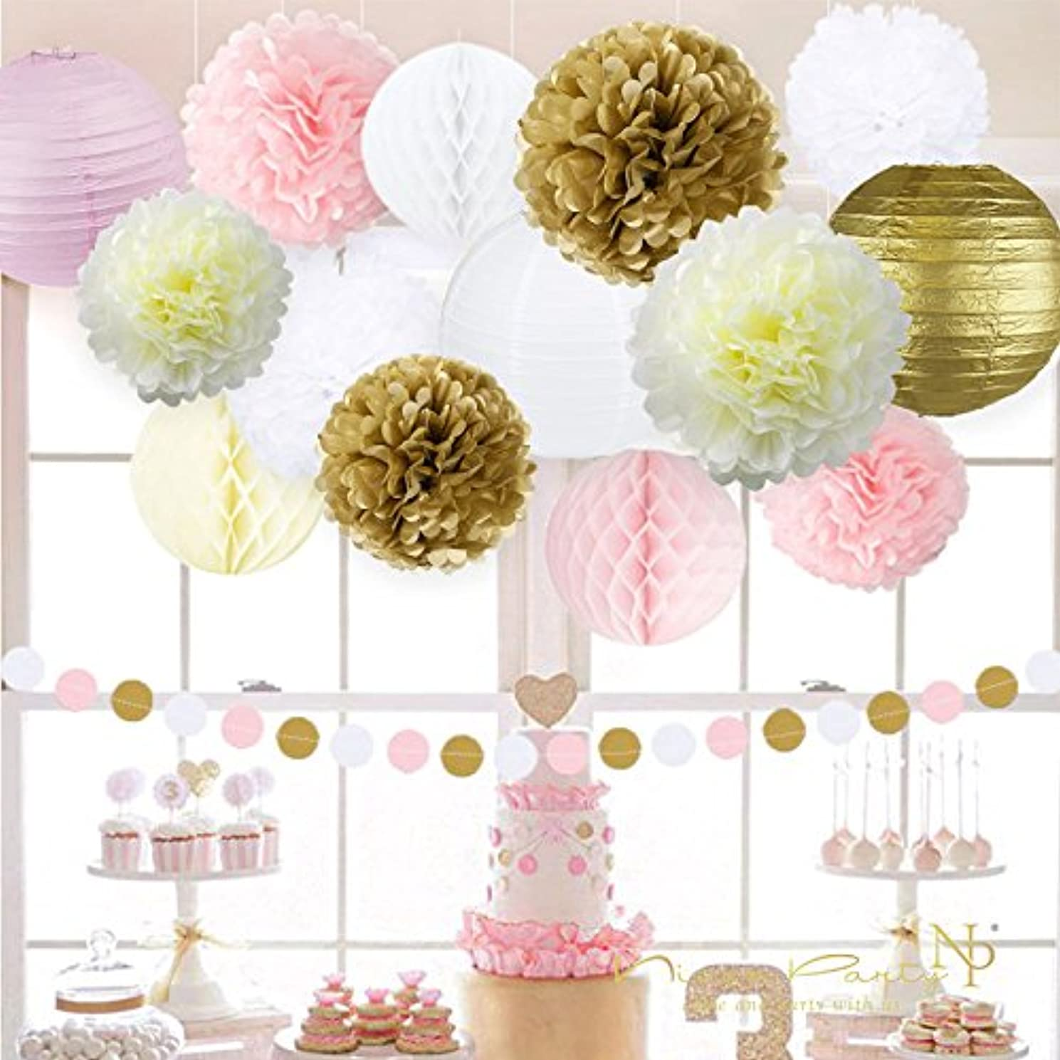 Pink and Gold Party Decorations, Pom Poms Flowers Kit +Circle paper Garland + Tissue Paper lantern for 1st birthday decorations Kids Birthday Bridal Shower Baby Shower wedding