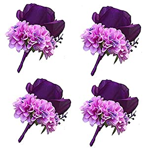 WeddingBobDIY Boutonniere Buttonholes Groom Groomsman Best Man Rose Wedding Flowers Accessories Prom Suit Decoration (4,Purple)