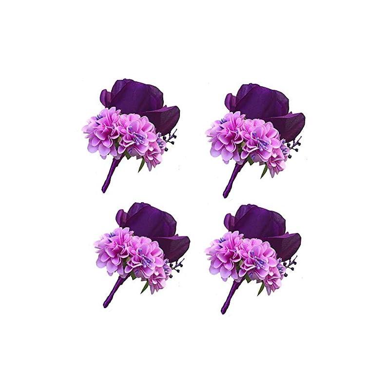 silk flower arrangements weddingbobdiy boutonniere buttonholes groom groomsman best man rose wedding flowers accessories prom suit decoration (4,purple)