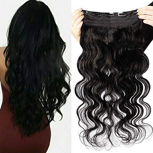 Clip in Extensions Echthaar lockig - Remy Echthaar Haarteil 1 Tresse mit 5 clips Haarverlängerung 55cm-100g (#1 Schwarz)