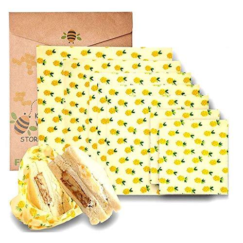 Envoltura de alimentos de cera de abeja, ecológica, reutilizable, 100% algodón orgánico, no tóxico, almacenamiento natural de grado alimentario. Sostenible, compostable y biodegradable, reutilizable