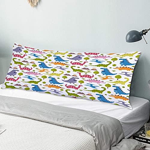 CIKYOWAY Funda de Almohada Larga Lindo diseño de Patrones sin Fisuras de Dinosaurios Protector de Almohada con Cremallera Transpirable Suave Antiarrugas Sofá Dormitorio 50x137cm