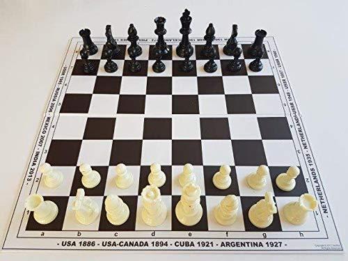 HenRal Schachbrett Schach Set klappbar New Chess Set: Unique Design Eco Friendly Folding Countries + Pieces. Field 50mm Brown - EINZIGARTIGES KLAPPBAR SCHACHBRETTSPIEL-Set N5 BRAUN