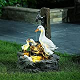 Duck Water Fountain Statue, Animal Garden Statue with Solar LED Lights, Solar Powered Resin Duck Family Patio Fountain, Cascading Freestanding Garden Decor (A)