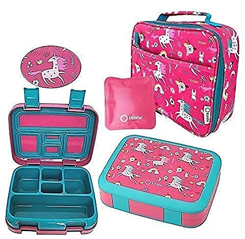 Unicorn Bento Lunch Box and Bag Set for Girls Toddlers, Cute Matching Pink Boxes with Unicorns for Daycare, Pre-School Gift, Ice Pack Included