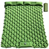 Double Camping Sleeping Pad, Foot Press Self Inflating Sleeping Mat with Pillow Ultralight Air Mattress Waterproof Durable for Tents Camping Hiking Backpacking Trek Car Truck Travel Beach