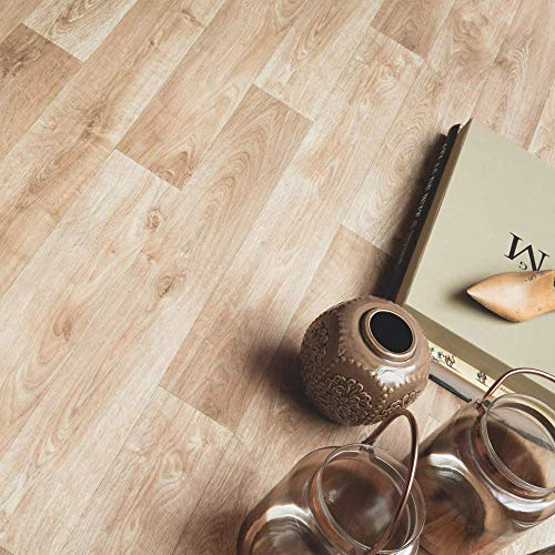 Wood Effect Sheet Vinyl Flooring Lino Atlas Tavel 535 Kitchen & Bathroom Thick Cushioned Natural Oak Design Floor - Multiple Sizes Available (1.5m x 2m)