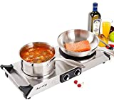 Duxtop Hot Plate Double Cast-Iron Electric Burner Cooktop with Adjustable Temperature Control, 1800W, Metal Housing, Indicator Light