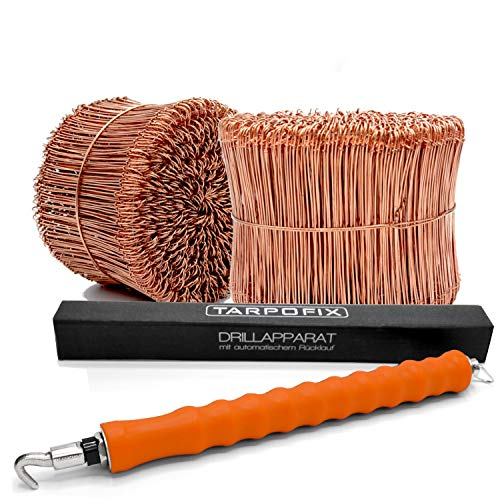 Tarpofix© Drillapparat Driller + Rödeldraht 1,0 x 100 mm (500 STK.) - hochwertiges Set aus Drahtbinder Rödelzange & Bindedraht Sackverschluss - verkupferter Drahtverschluss Ösendraht Drill Draht