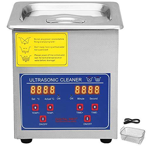 VEVOR Pulitore ad Ultrasuoni Macchina di Pulizia in Acciaio Inossidabile con Timer Digitale di Riscaldamento per Uso Domestico Commerciale Laboratorio (2L)