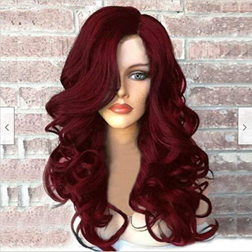 Weibliches burgunderfarbenes gewelltes langes lockiges Haar, künstliches Haar, 65 cm, synthetische Faser-Hochtemperaturseide, verwendet für Frauenperücken für Party...