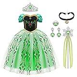 URAQT Niña Princesa Coronación Vestido, Disfraz de Elsa Anna con Varita Corona Accesorios, Vestido de Cosplay, Cumpleaños Fiesta Cosplay Carnaval Cosplay Halloween Traje, Talla 6-7 años, Verde